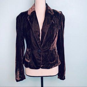 Isaac Mizrahi Brown Velvet Women's Blazer Size 6